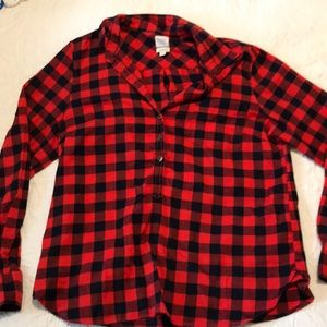 Jcrew navy and red plaid popover flannel shirt